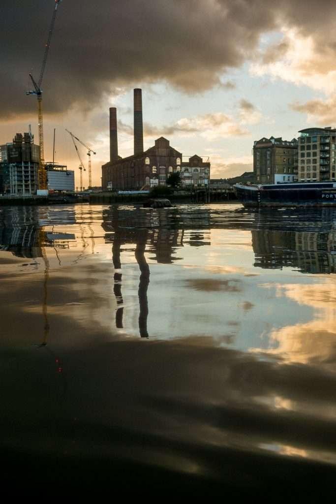 Lots Road Power Station, Chelsea Creek, River Thames, London, UK.
