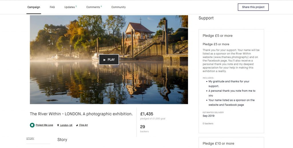 Kickstarter for the River Within - London exhibition